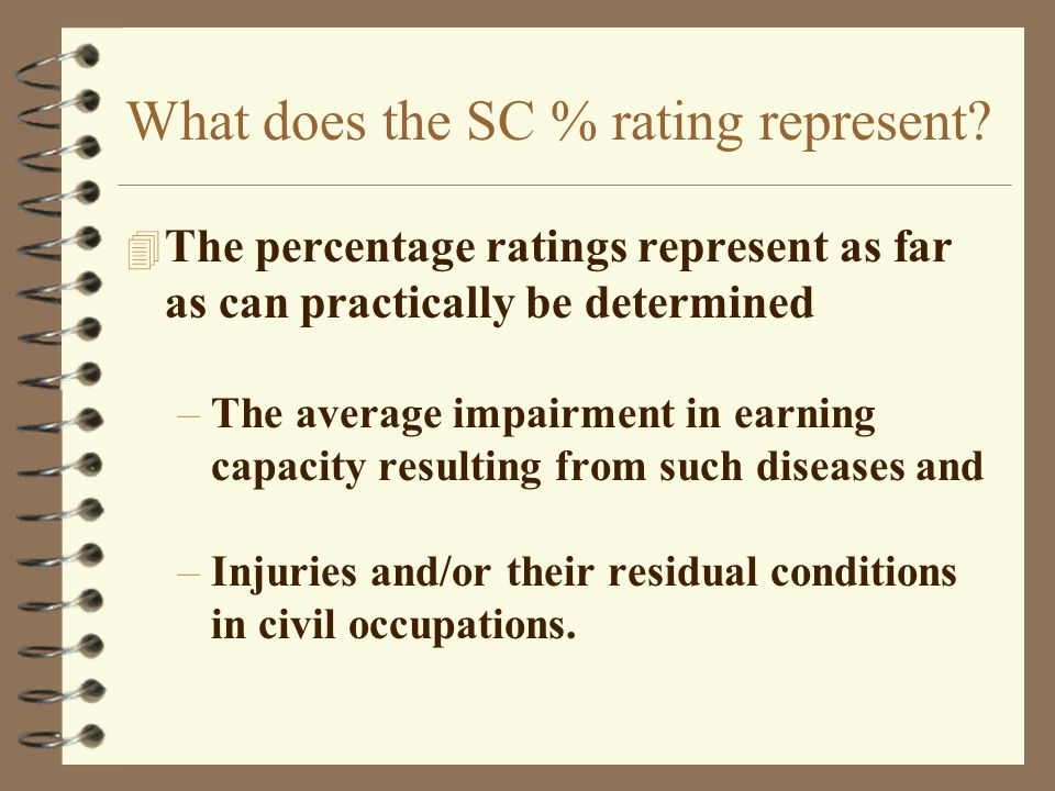 What does the SC % rating represent