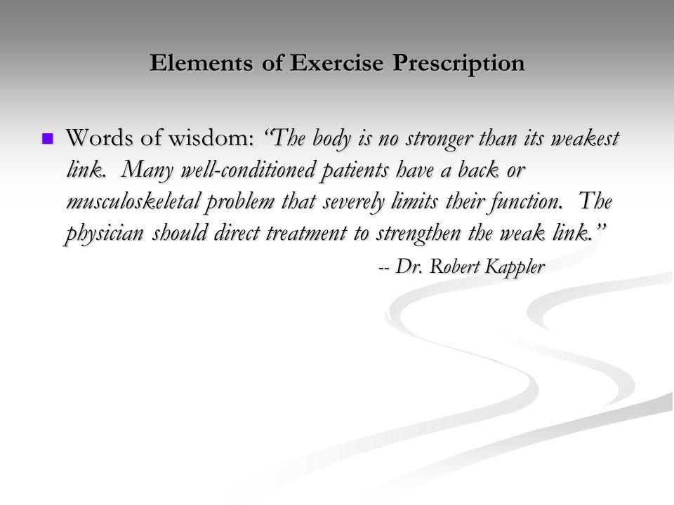 Elements of Exercise Prescription
