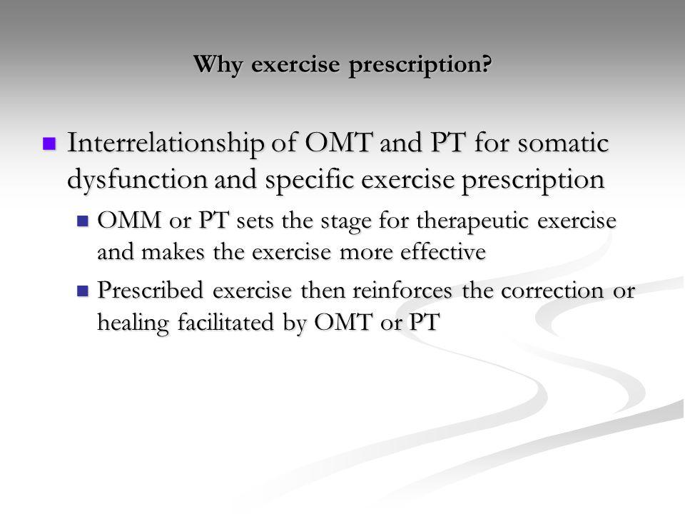 Why exercise prescription