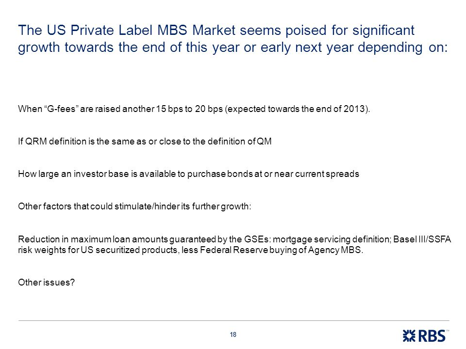 The US Private Label MBS Market seems poised for significant growth towards the end of this year or early next year depending on: