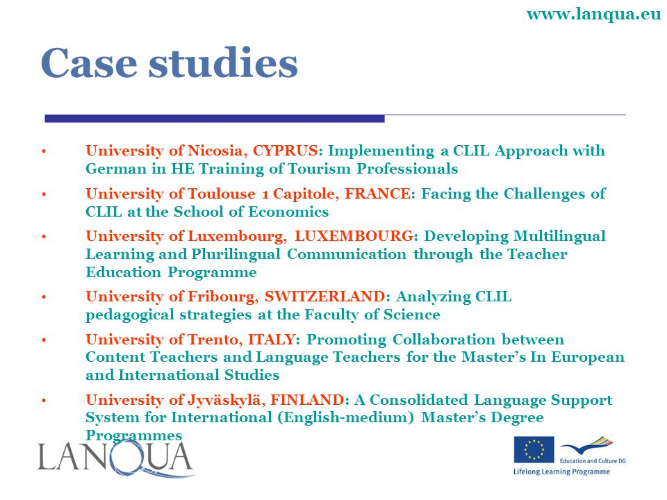Case studies University of Nicosia, CYPRUS: Implementing a CLIL Approach with German in HE Training of Tourism Professionals.