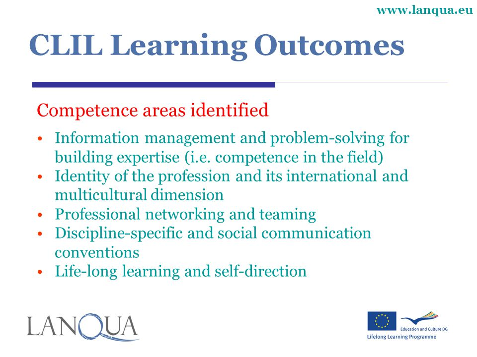 CLIL Learning Outcomes