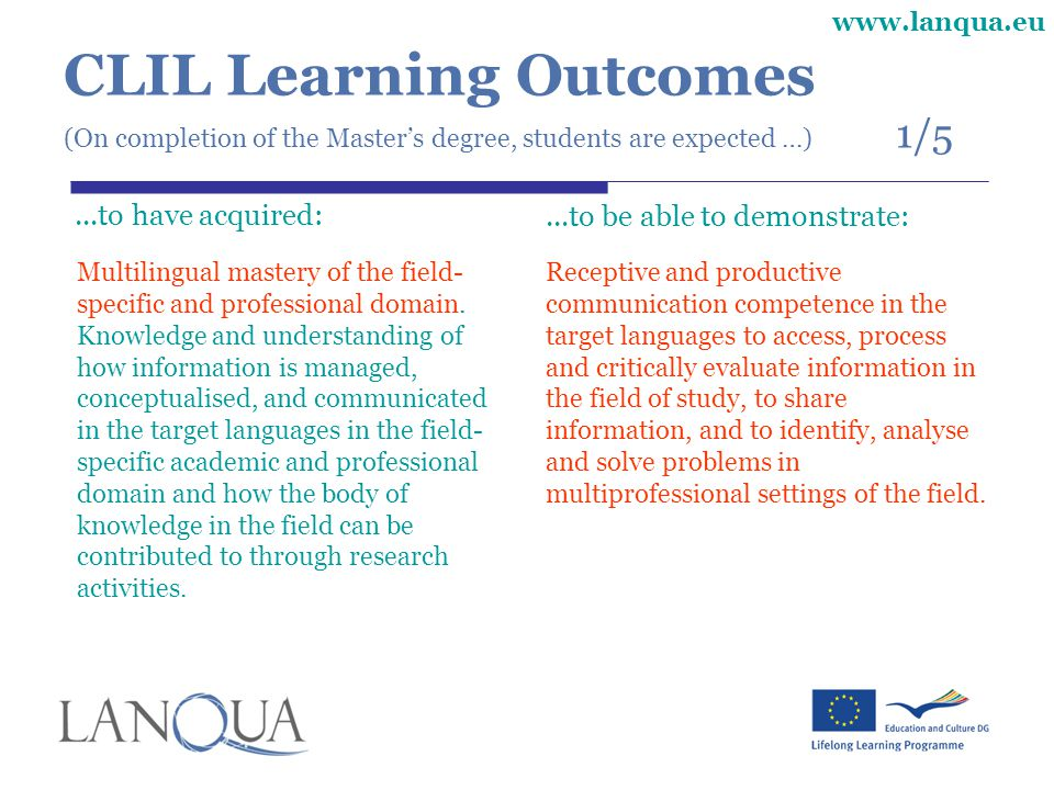 CLIL Learning Outcomes (On completion of the Master's degree, students are expected …) 1/5