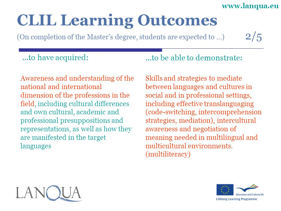 CLIL Learning Outcomes (On completion of the Master's degree, students are expected to …) 2/5