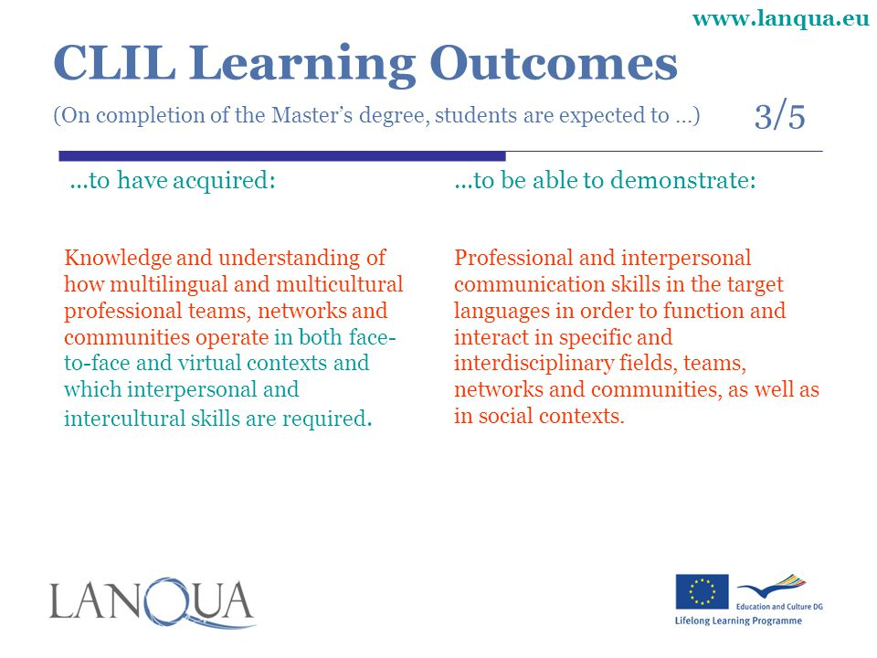CLIL Learning Outcomes (On completion of the Master's degree, students are expected to …) 3/5