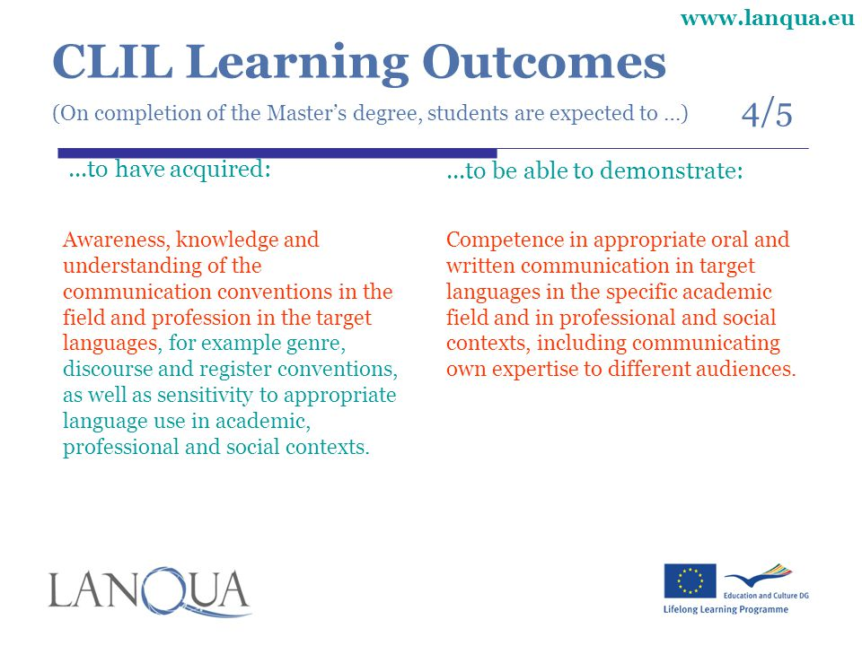 CLIL Learning Outcomes (On completion of the Master's degree, students are expected to …) 4/5