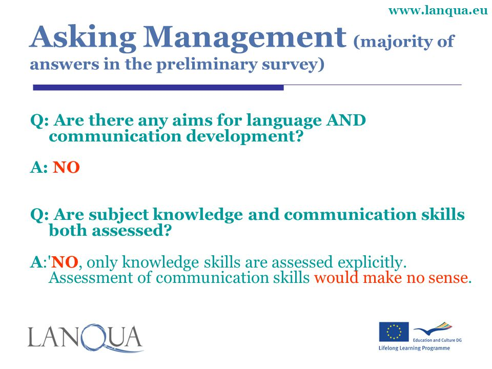Asking Management (majority of answers in the preliminary survey)