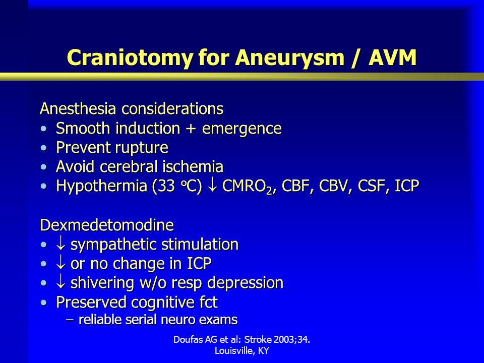 Craniotomy for Aneurysm / AVM