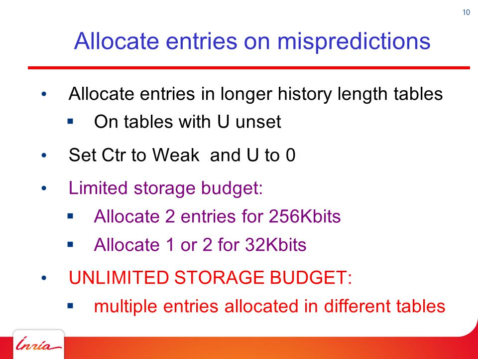 Allocate entries on mispredictions