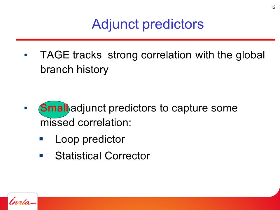 Adjunct predictors TAGE tracks strong correlation with the global branch history. Small adjunct predictors to capture some missed correlation: