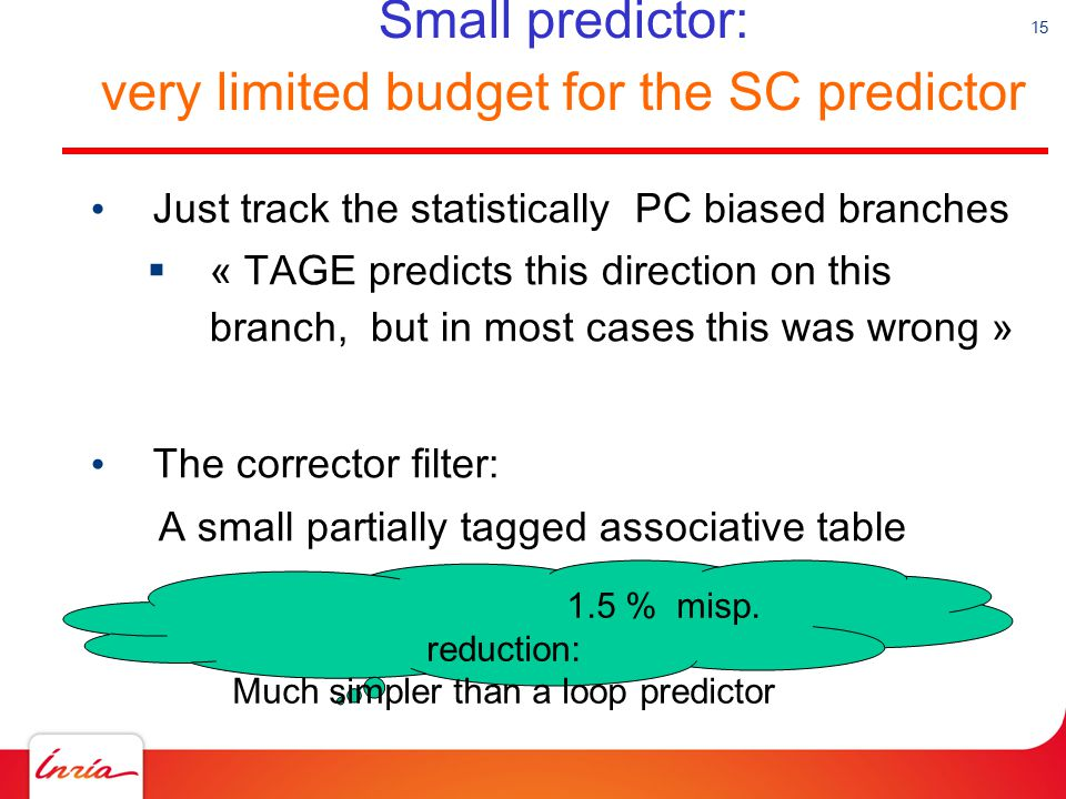 Small predictor: very limited budget for the SC predictor