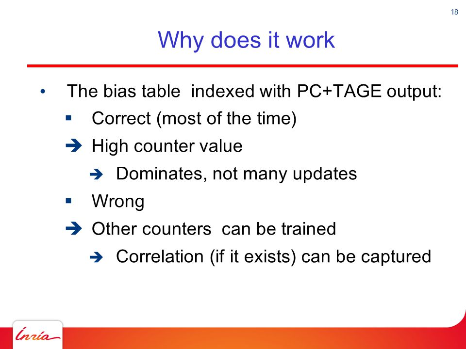 Why does it work The bias table indexed with PC+TAGE output: