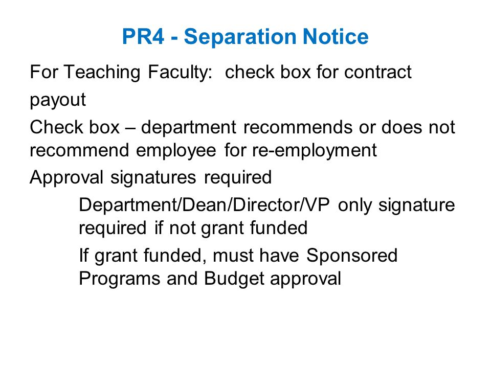 PR4 - Separation Notice