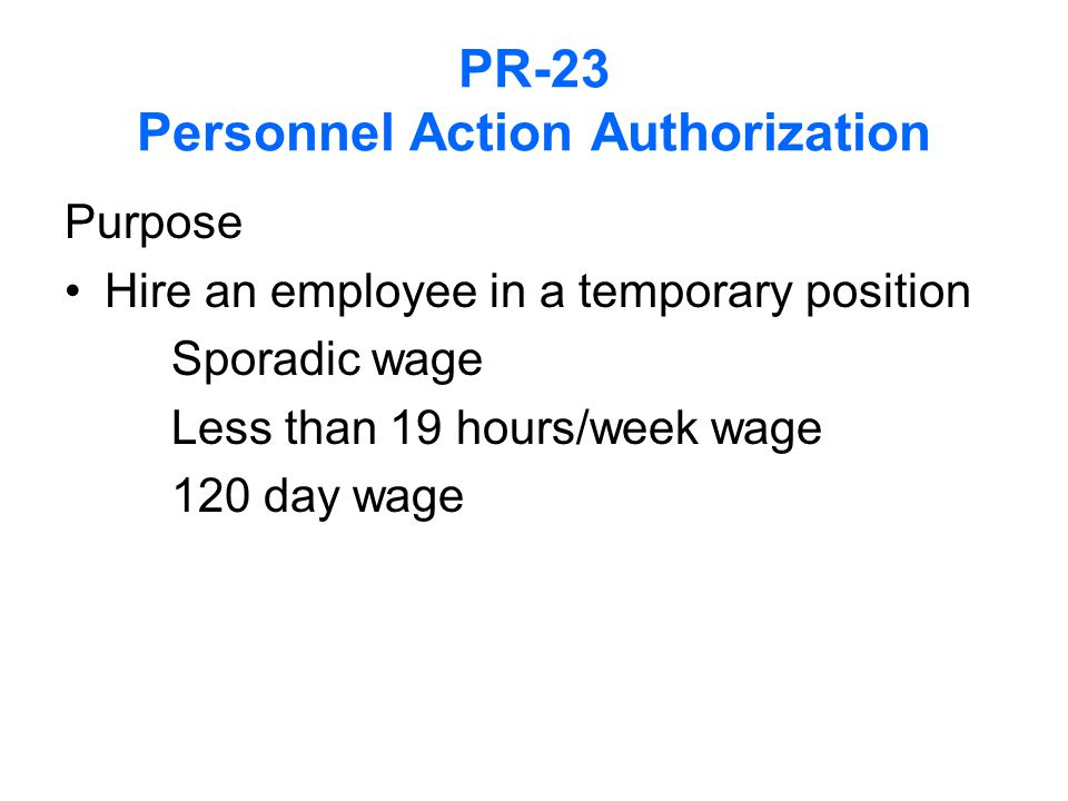 PR-23 Personnel Action Authorization