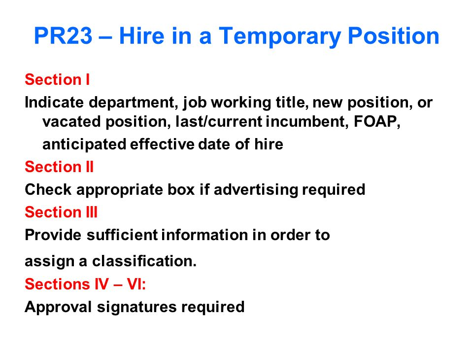 PR23 – Hire in a Temporary Position