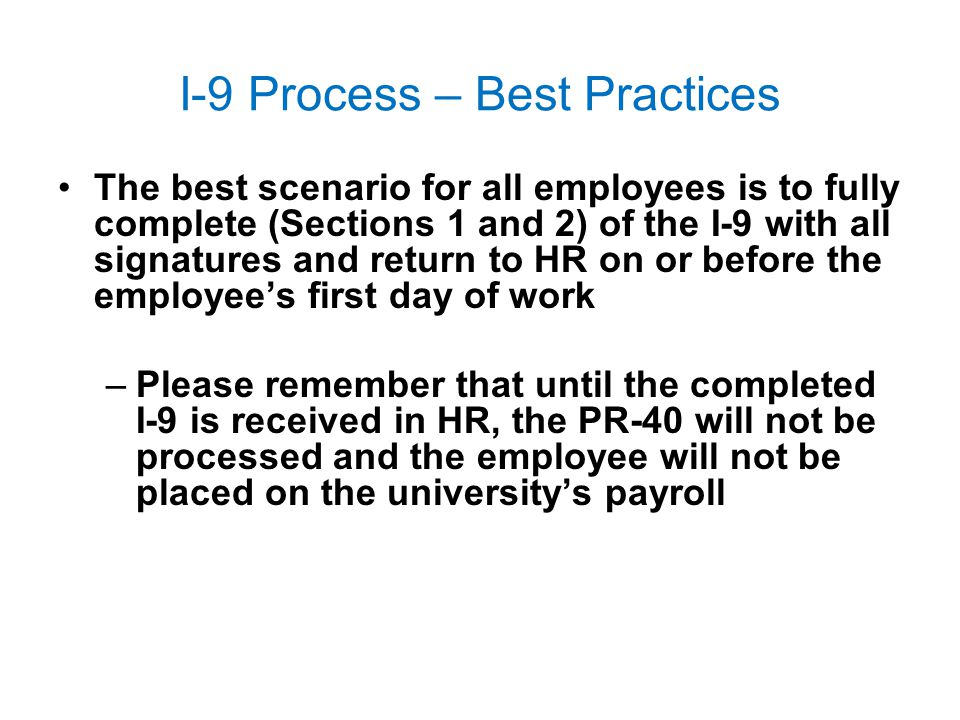 I-9 Process – Best Practices