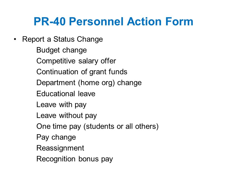 PR-40 Personnel Action Form