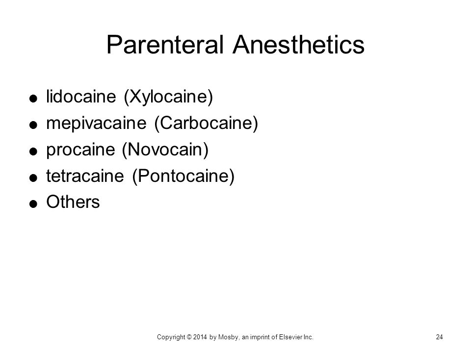 Parenteral Anesthetics