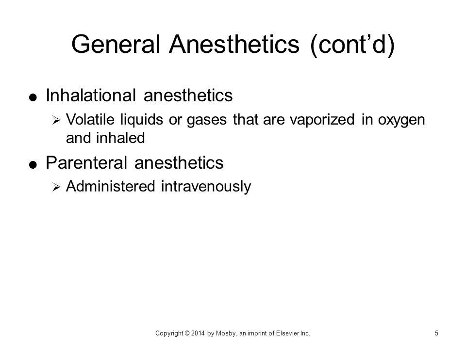General Anesthetics (cont'd)