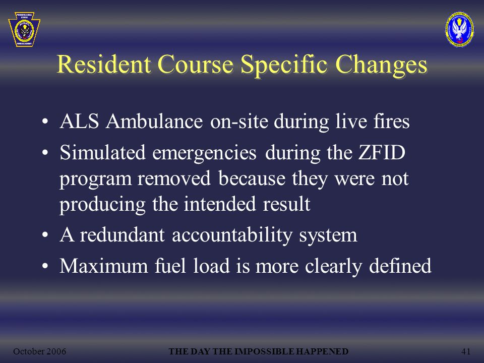 Resident Course Specific Changes
