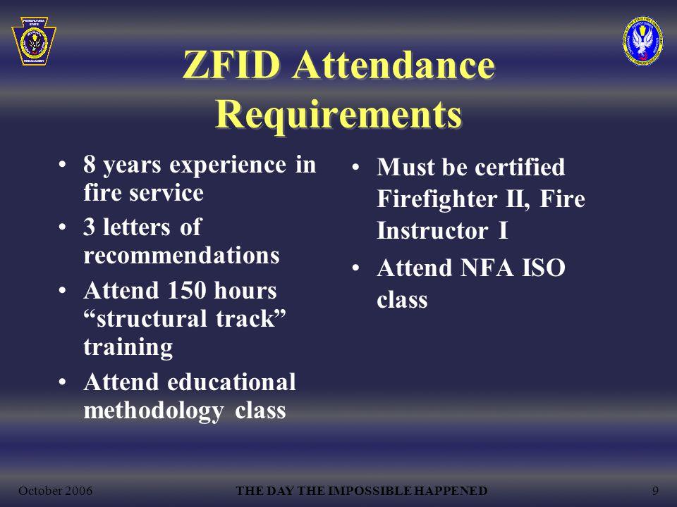 ZFID Attendance Requirements