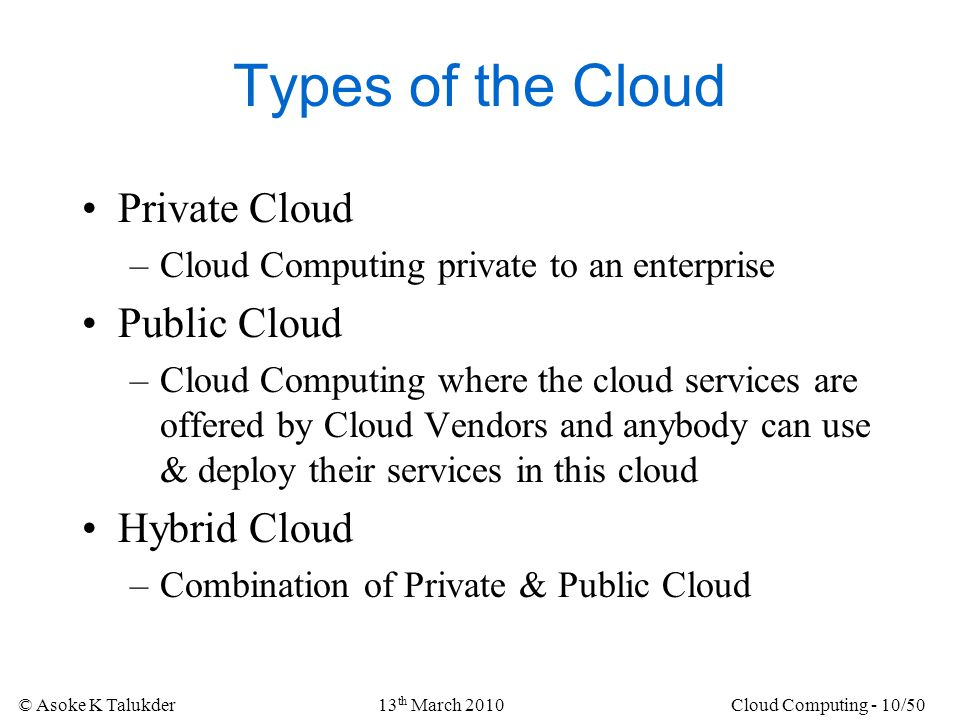 Types of the Cloud Private Cloud Public Cloud Hybrid Cloud
