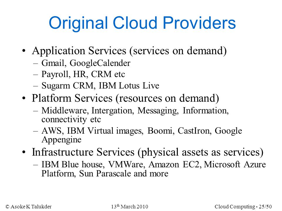 Original Cloud Providers