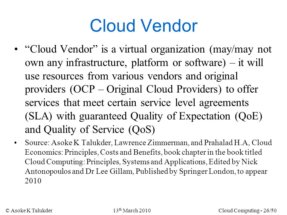 Cloud Vendor