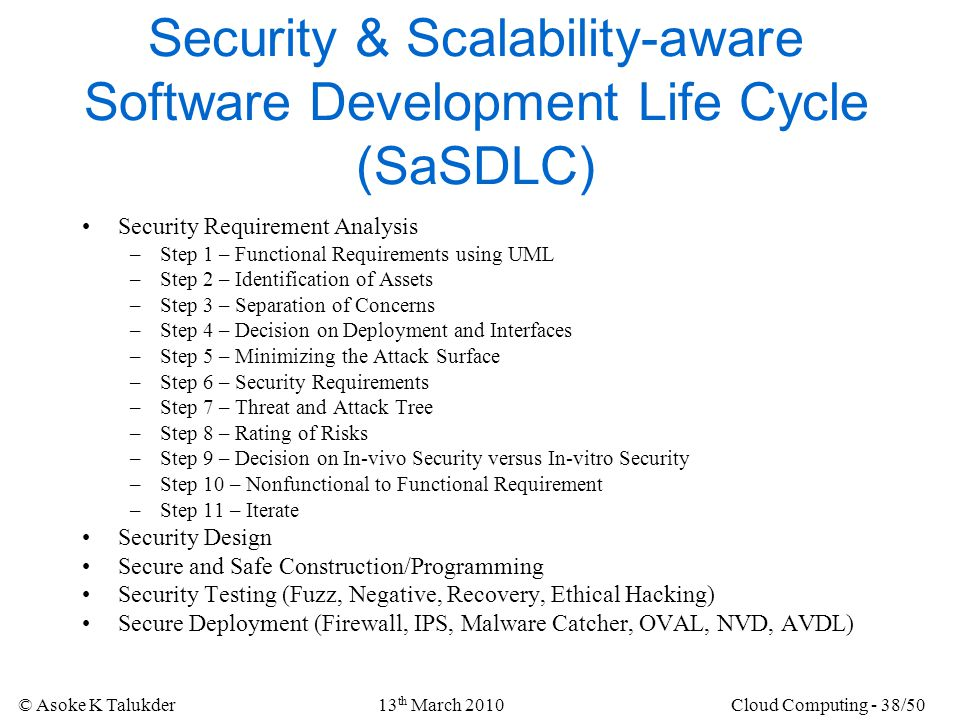 Security & Scalability-aware Software Development Life Cycle (SaSDLC)