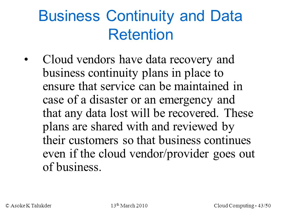 Business Continuity and Data Retention