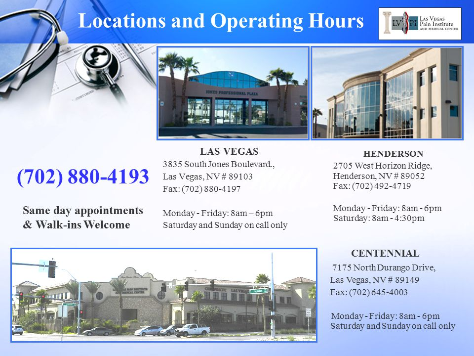 Locations and Operating Hours