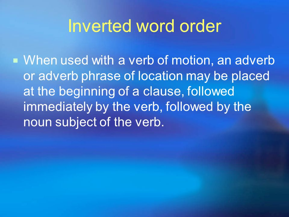 Inverted word order