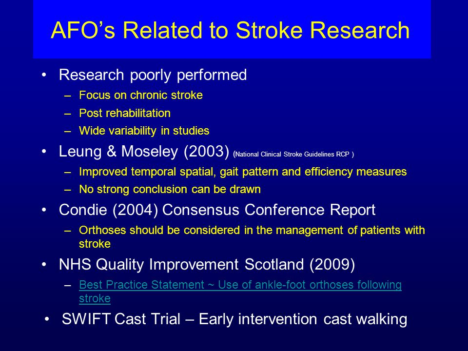 AFO's Related to Stroke Research