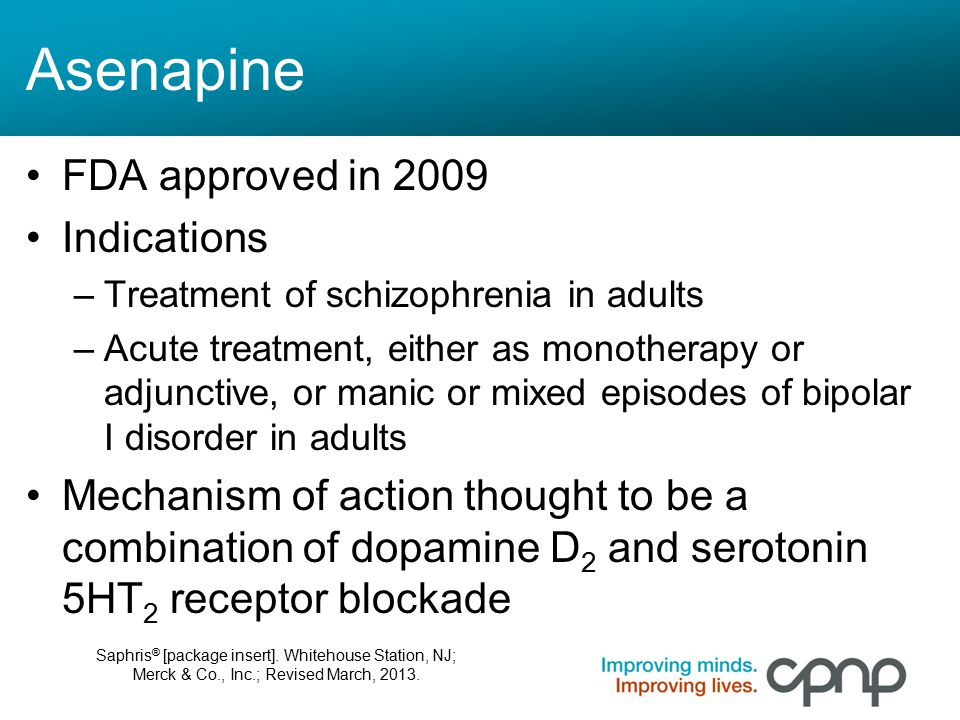 Asenapine FDA approved in 2009 Indications