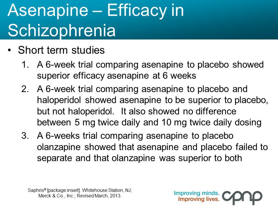 Asenapine – Efficacy in Schizophrenia