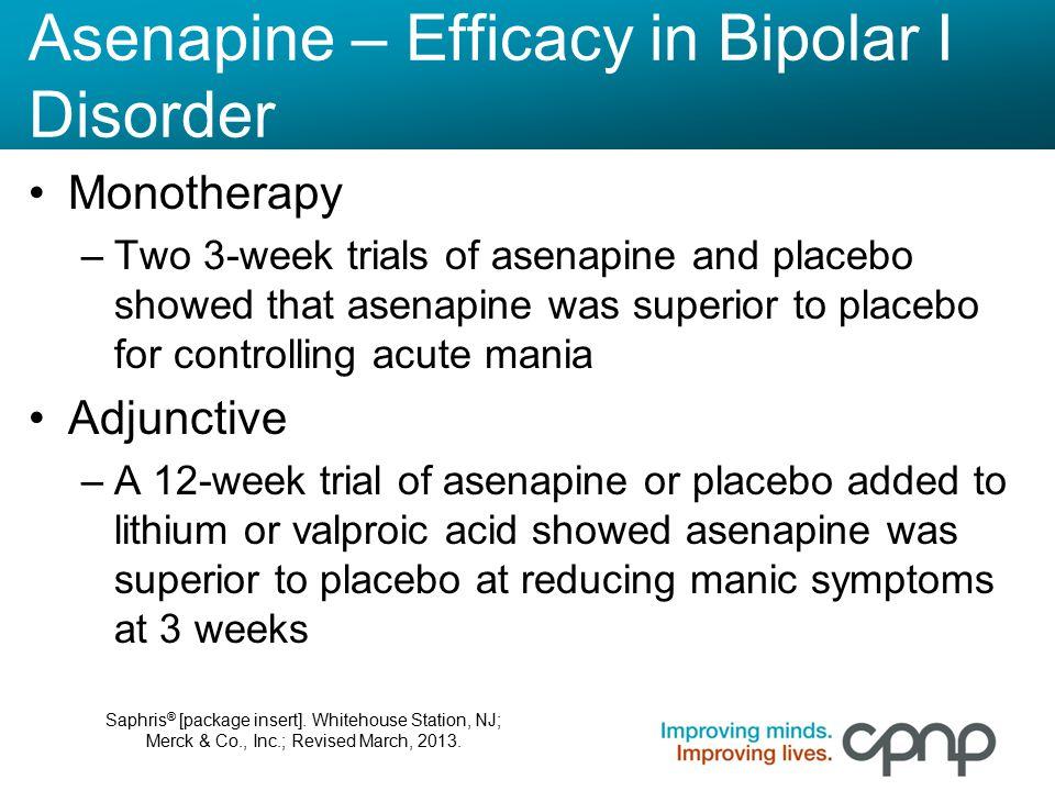 Asenapine – Efficacy in Bipolar I Disorder