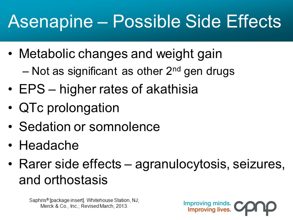 Asenapine – Possible Side Effects