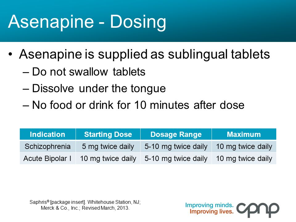 Asenapine - Dosing Asenapine is supplied as sublingual tablets