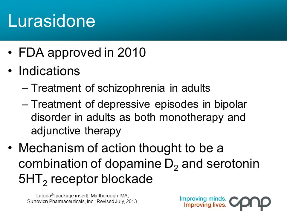 Lurasidone FDA approved in 2010 Indications