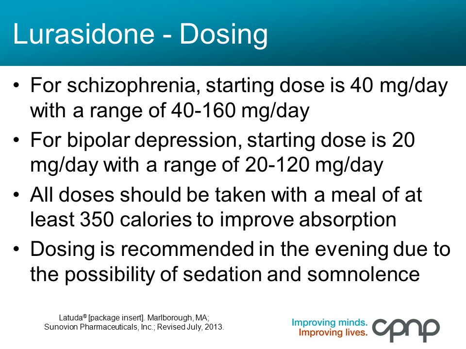 Lurasidone - Dosing For schizophrenia, starting dose is 40 mg/day with a range of 40-160 mg/day.