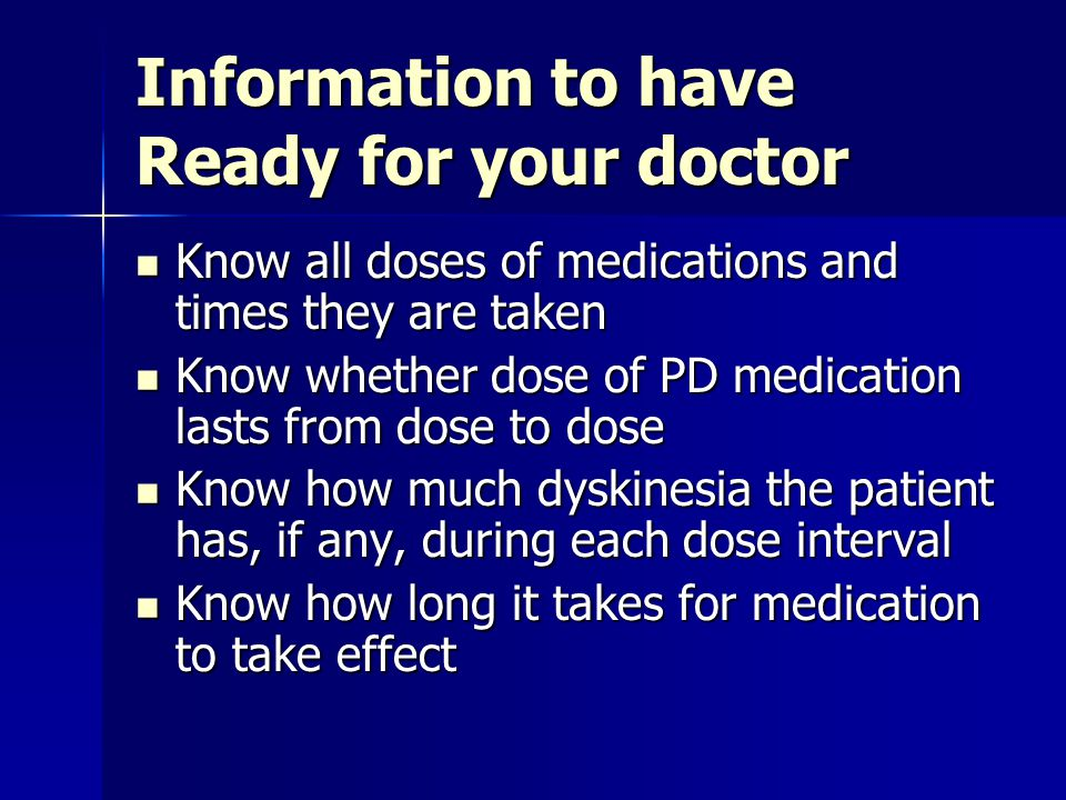 Information to have Ready for your doctor