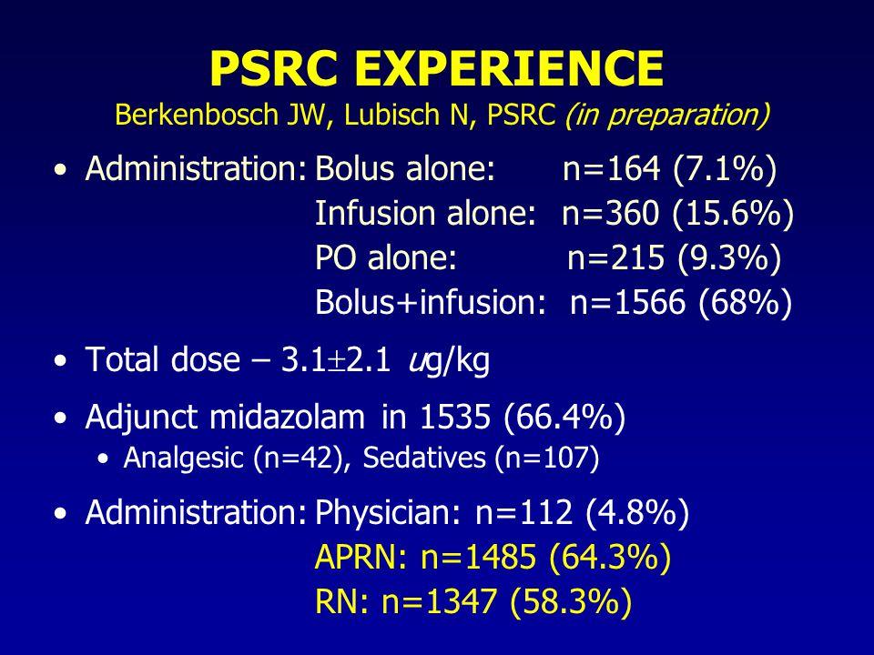 PSRC EXPERIENCE Berkenbosch JW, Lubisch N, PSRC (in preparation)