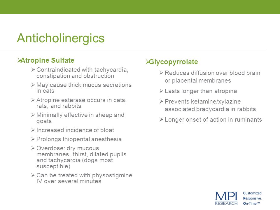 Anticholinergics Atropine Sulfate Glycopyrrolate