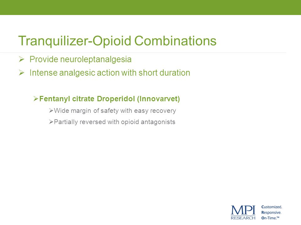 Tranquilizer-Opioid Combinations