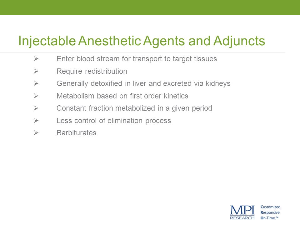 Injectable Anesthetic Agents and Adjuncts