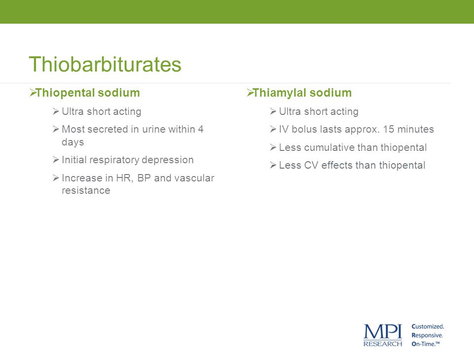 Thiobarbiturates Thiopental sodium Thiamylal sodium Ultra short acting