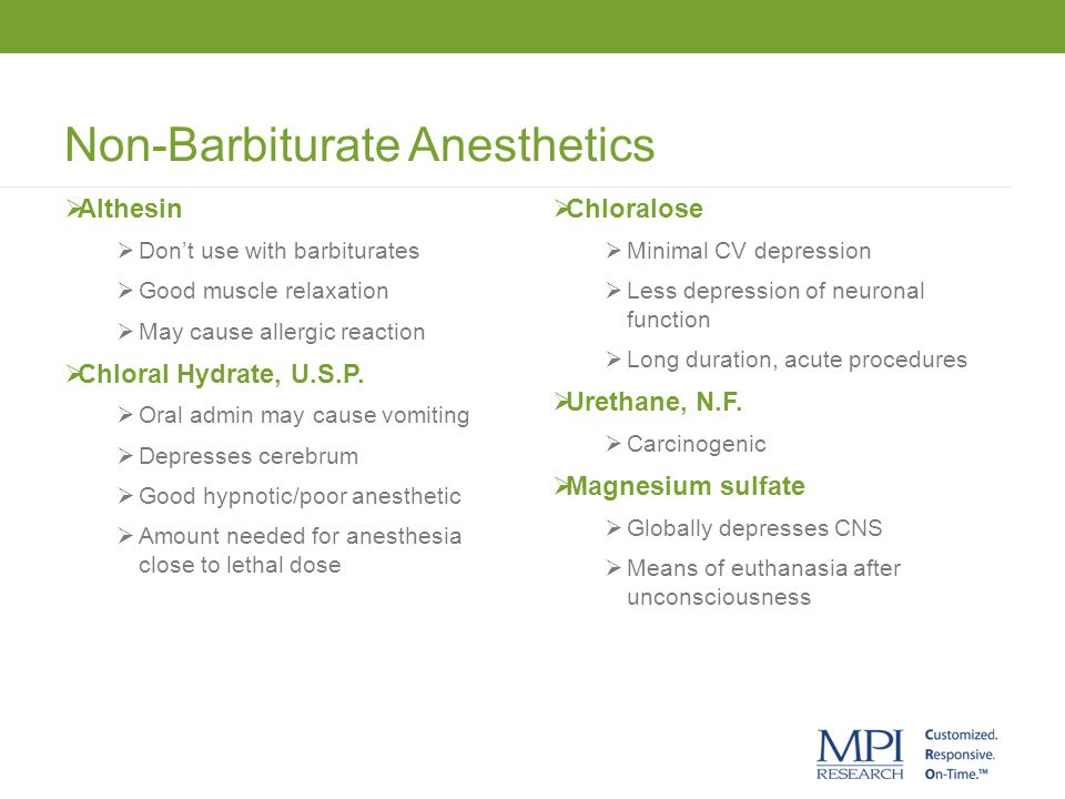 Non-Barbiturate Anesthetics