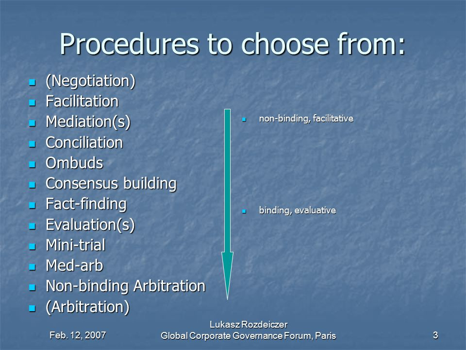 Procedures to choose from: