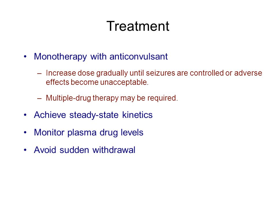 Treatment Monotherapy with anticonvulsant