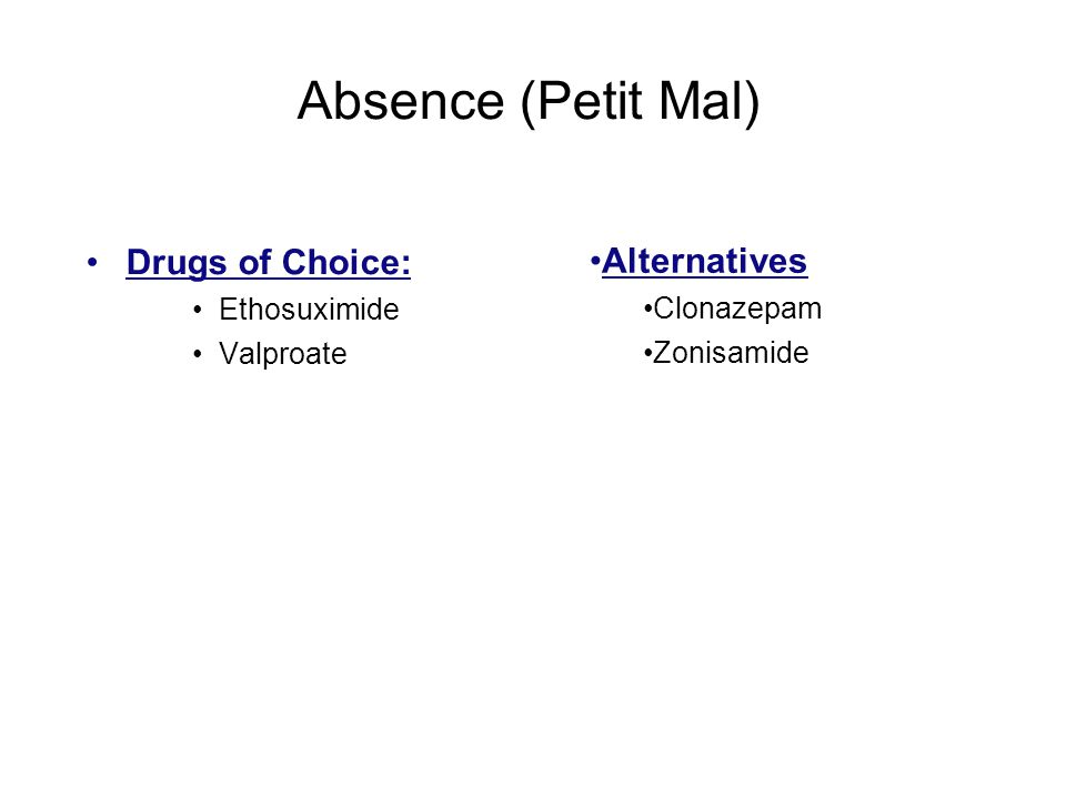 Absence (Petit Mal) Drugs of Choice: Alternatives Ethosuximide
